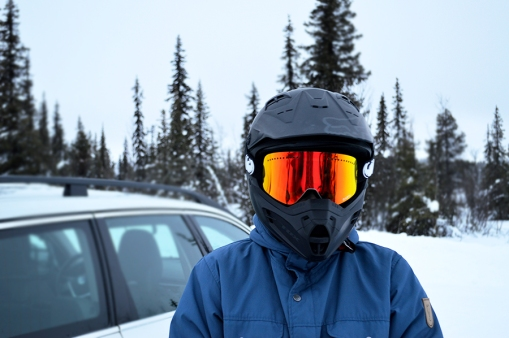 Erica and her shiny snowmobiling goggles