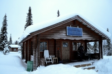 The cabin is powered by that solar panel on the front. During the summer there is the midnight sun, so it saves that sunlight for when there's barely any in the winter.