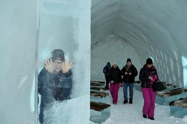 stuck in an ice block!